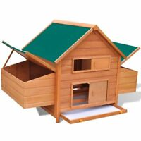 "61.2"" Wood Hen Chicken Duck poultry Hutch House Coop Cage with 2 nesting boxes"