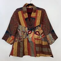 Soft Surroundings Womens SS kimono Style Embroidered Jacket Floral Paisley SZ PL
