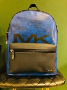 Michael Kors Backpack Cooper Blue Leather and Canvas Genuine
