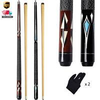 "2pcs 58"" Canadian Maple Pool Cue Sticks Linen Wrap Billiard Stick with Gloves"