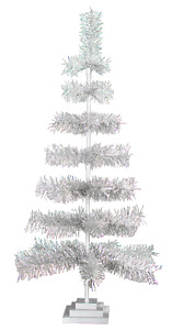 "48"" Silver Tinsel Christmas Tree Vintage Retro Style XMASS Holiday Decor 4FT"