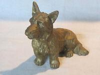 Vintage cast metal with gilt finish Scottie Scottish terrier dog figurine