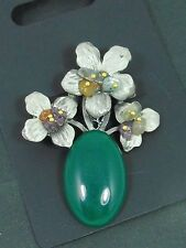UNUSUAL PEWTER COLOURED FLOWER WITH GREEN AGATE GEMSTONE STATEMENT BROOCH