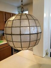 1960s/VINTAGE CAPIZ SHELL GLOBE HANGING LAMP