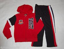 Boys Sweatsuit HOODIE JACKET Pants RED Black 4 VARSITY BASKETBALL Zip Front