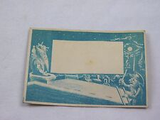 Victorian Cyanotype Blue Monotone Trade Card Santa Rooftop Policeman Moon F45