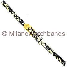 6mm Glam Rock Handmade Gen. Italian Leather Python Grain Gold Black Watch Band