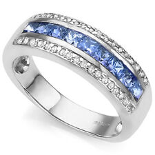1.15 CARAT TW TANZANITE & DIAMOND 925 STERLING SILVER WIDE BAND RING SIZE 7