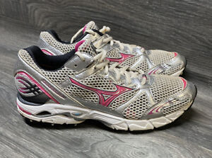 Mizuno Wave Rider 14 Women's Silver and Pink Running Shoes Size 9.5
