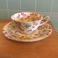 Vtg Ucagco tea cup saucer occupied Japan small floral design very colorful