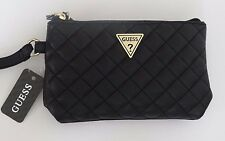 NWT GUESS Women's Black Quilt Sandy Double Zip Pouch/Wristlet Free Shipping