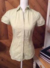 THE LIMITED Essential Shirt Green White Stripe TOP Stretch Collared Button XS