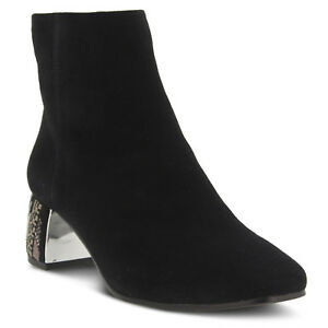 New In Box Womens Azura Spring Step PIZZAZZ-BS Black Suede Booties Boots