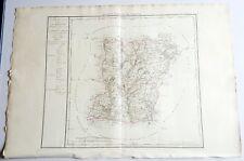 Dépt 53 - Carte Originale de 1790 Gravure sur Cuivre Aquarellée 84 x 58 cm