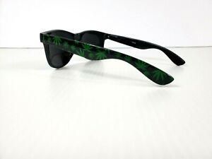 BLACK GREEN MARIJUANA WEED LEAF SQUARE SUNGLASSES 420 RETRO CLASSIC HIP HOP VTG
