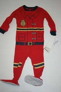 NEW Carter's Boys 1 Piece Cotton Red Fire Man PJs Footed Pajamas 12m 18m 24m