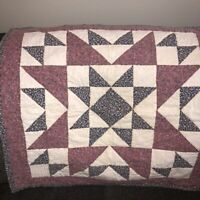 """Vtg Patchwork Quilted Wall Hanging 27"""" Sq Star Rose Ivory Navy Country Cottage"""