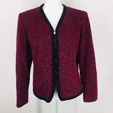 Pendleton Wool Womens Red Black Tweed Jacket Size 14 Dress Coat Lined Career Vtg