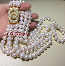 """AAAAA 3 row 17""""19"""" 21"""" 11-12mm round REAL south sea WHITE pearl necklace,silver"""