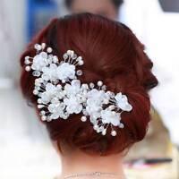 Festival Wedding Floral Pearl Hairpin Bride Headdress Plait Hair Clip Accessorie
