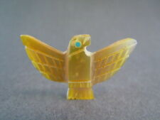 majestic Zuni wings spread golden pearly Eagle fetish carving Lorvin Kiyite 26