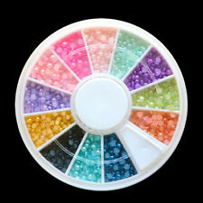 Colorful Pearl Nail Art Stone Different Size Wheel Rhinestones Beads LW