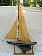 Antique Large  Pond Yacht Sailboat Original Sails with Stand