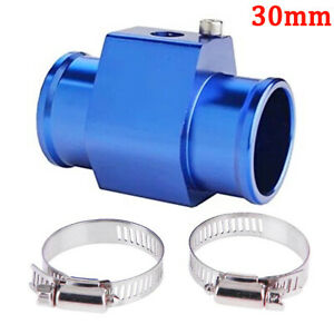 "30MM 1.18"" Water Temp Temperature Sensor Billet Adaptor Gauge Radiator Hose Blue"