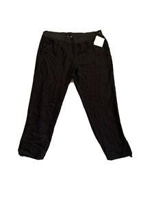 Ellen Tracy Linen Pants Pull On Elastic Waist XL Black 80.00