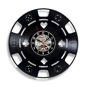 Gambling Poker Chip Decoration - Roll & Dice Vinyl Wall Clock for Gambler