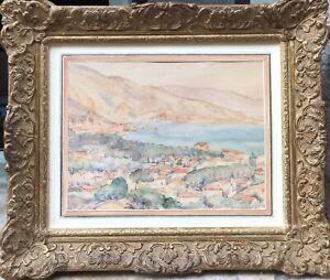 Tableau Peinture Cadre 20è XXè Signé Marine Côte d'azur Paysage Réalisme ancien