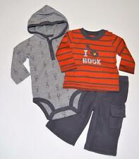 NEW Baby Boys 6m Carter's Just One You 3 Piece Outfit Shirts Fleece Pants ROCK