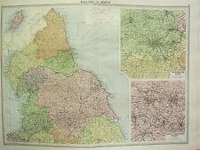 1920 LARGE MAP ~ ENGLAND NORTH ~ YORK DURHAM MANCHESTER DISTRICT LEEDS BRADFORD