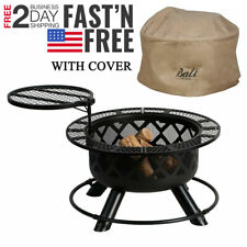 """New listing 32"""" Crossfire Fire Pit Removable Cooking Grill Outdoors Campfire Grill + Cover"""