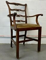 Antique Solid Mahogany Ladder Back Carver Dining Chair