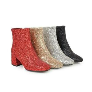 Women's Square Toe Side Zip Ankle Boots Mid Block Heel Shiny Glitter Party Shoes
