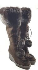 Coach Boots Karita Rabbit Fur Brown Knee-High Boots Suede Womens Size 7.5M