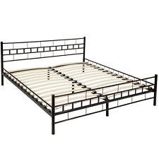 Double metal bed frame super king size bedroom 180x200cm black + slatted frame