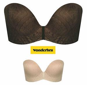 Wonderbra PERFECT STRAPLESS LACE Trägerloser BH Ivory, Schwarz A-D 70-85 Top