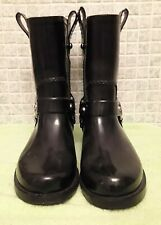 Michael Kors Women's Rain Boots Black Stormette Biker Engineer Style Size 7