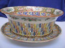 CHINESE Rose Medallion Reticulated Porcelain Fruit Chestnut Bowl & Under Plate