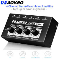 Aokeo Ultra Low-Noise 4-Channel Line Sub-Mixing,4 Stereo Mini Audio Mixer(MK400)