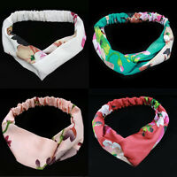 Vintage Women Girl Floral Yoga Elastic Twisted Knotted Turban Hair Band Headband