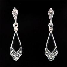 ART DECO STERLING SILVER MARCASITE AND ONYX DROP EARRINGS