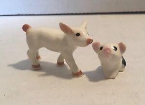 2 Different Vintage Hagen Renaker Miniature Ceramic PIGLET Figurines