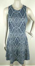 H&M Women's Sleeveless Skater Dress Blue White Geometric Print Size Medium