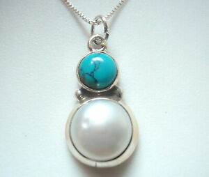 Cultured Pearl and Turquoise Double Round 925 Sterling Silver Pendant