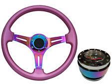Pink Neo Chrome TS Steering Wheel + Neo Quick Release boss NCh for MAZDA