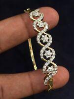 Pave 1,49 Cts Natürliche Diamanten Hinged Armreif Bracelet In 585 Feine 14K Gold