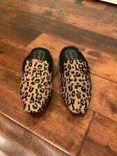 Derek Lam Tan Leopard Print Fuzzy Lined Slippers, Size 7/8 (US)